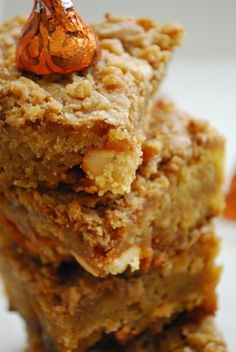 Pumpkin Toffee Blondies Low Acidic Version: not sure about the pumpkin spice hershey kisses bc I don't know the ingredients