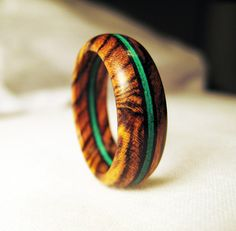 Bocote Wood Ring With Bright Green Veneer by Endeavours on Etsy, $59.00
