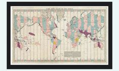 Old World Map Atlas Time Zone Chart 1937 Vintage Antique