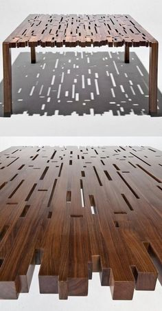 Wooden table design.