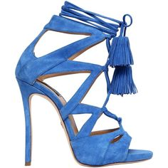 Dsquared2 Women 120mm Suede Lace-up Sandals W/ Tassels ($1,025) ❤ liked on Polyvore featuring shoes, sandals, royal blue, high heels sandals, royal blue high heel shoes, leather sole sandals, lace up high heel sandals and laced sandals