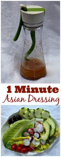 One minute Asian Vinaigrette Dressing. In under 1 minute, you can whip up a tasty vinaigrette to splash over your favorite greens. Healthy. via @lannisam