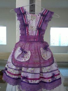 Vestido para festa junina. Dress Anak, Frocks, Look, Peplum, Female, Aprons, Clothes, Dresses, Women