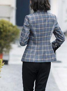 Women's Daily Street chic Spring Regular Blazer, Striped Shirt Collar Long Sleeve Polyester Blue / Gray L / XL / XXL / Sexy / Slim Blazer Outfits, Blazer Fashion, Blazer Dress, Casual Outfits, Dress Outfits, Fashion Dresses, Suits For Women, Jackets For Women, How To Wear Blazers