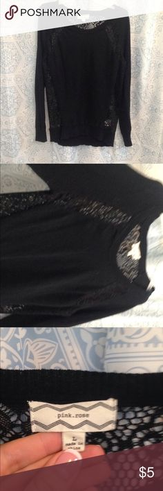 Black lace top Lace backed black top Pink Rose Tops Blouses