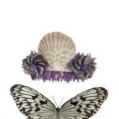 Purple Seashell Barrette Vintage Shells Clam by TheMermaidsBox, $25.00