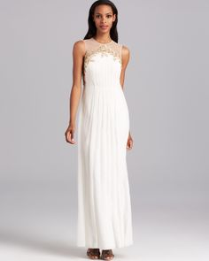 Phoebe by Kay Unger Gown - Long Chiffon with Gold Leaf Detail | Bloomingdale's