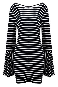 Stylish Striped Print Bell Sleeves Mini Dress