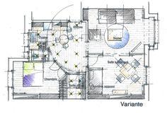 Plan d'Avant Projet Sommaire permettant de visualiser une première approche d'architecte d'intérieur. Philippe Ponceblanc architecte d'intérieur http://www.architecte-interieur.com