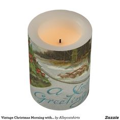 Vintage Christmas Morning with Holly Bells Flameless Candle
