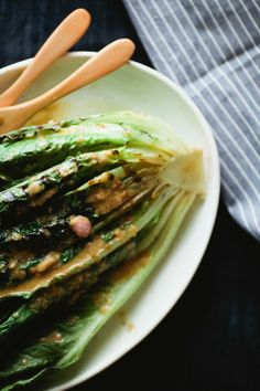 grilled greens salad with anchovy vinaigrette