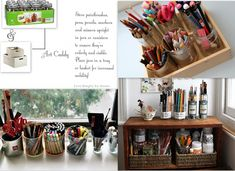 Organizing The Art Studio -- Use glass jars, metal cans- really any cylindrical canisters will do- to hold these things upright. If you want to make those jars mobile, pop them all onto a storage tray and viola, you've got yourself an art caddy.