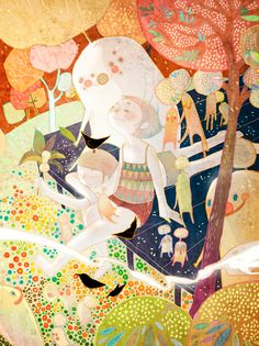 illustration, figure, girl, 3/4 view sitting, from above, tree, pattern, design, animal, bird, monster, fantasy.