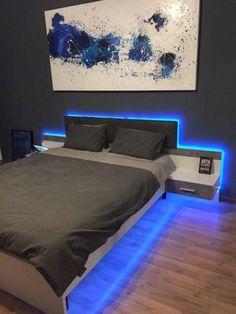 Inspirations Mens Bedroom Ideas - All Bedroom Design Bedroom Setup, Boys Bedroom Decor, Room Ideas Bedroom, Master Bedroom, Diy Bedroom, Boy Bedroom Designs, Design Bedroom, Mens Room Decor, Neon Bedroom