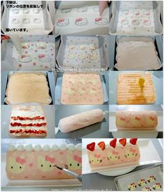 Hello Kitty decorated cake roll Info in Japanese. Looks like you paint the kitties in cake batter then cover in light pink batter.