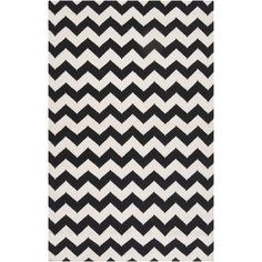 Handwoven Midnight Chevron Jet Black Wool Rug (8' x 11')