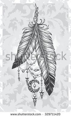 Two feathers tattoo with pendants in the form of crystals and crescent style Dotwork on a patterned background