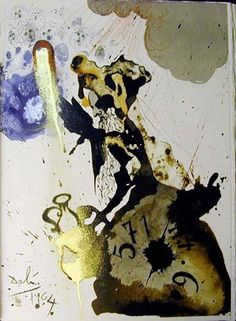"""Mane, thecel, phares"", gouache von Salvador Dali (1904-1989, Spain)"
