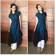 Easy does it in relaxed, colour-blocked separates. Find this approved collection at our Ogaan Malcha… Cotton Dress Indian, Indian Dresses, Indian Outfits, Indian Attire, Indian Wear, Casual Dresses, Fashion Dresses, Casual Wear, Women's Fashion