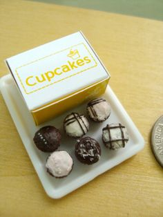 Miniature Chocolate Cupcakes 1/12 Scale Dollhouse by snowfern