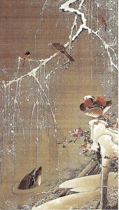 動植綵絵 雪中鴛鴦図