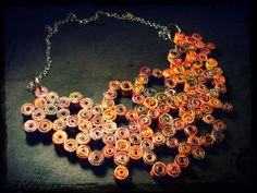 handmade necklace made of paper beads