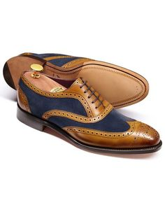 Tan Foundry suede wing tip brogue Oxford shoes
