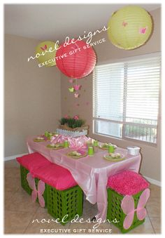 Butterfly 1st Birthday Kids Table w/Custom #Butterfly Hanging Lanterns, Benches, Place Settings & More! #lasvegas #parties #events #birthday