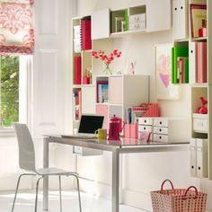 43 Inspiring And Thoughtful Home Office Storage Ideas : Home Office Storage Ideas With White Wall Wooden Door Window Curtain Cabinet Storage Chair Desk Basket Hardwood Floor