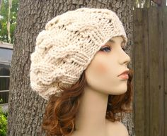 Cream Cable Beret Chunky Knit Hat Cream Womens Hat  by pixiebell