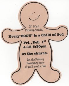 """""""Every 'BODY' Is A Child of God"""" Activity"""