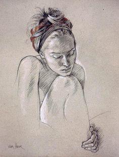 Rivka au foulard 2002 Pierre noire et crayons blanc et rouge 65 x 50 cm Galerie Alain Blondel