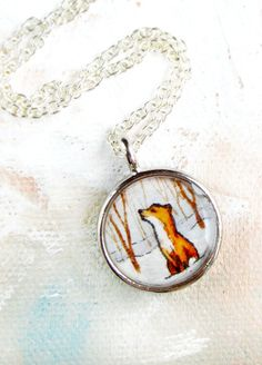 Fox in the Snow - Woodland Necklace Pendant, Handmade Art Jewelry | Sarah-Lambert Cook