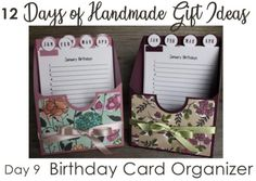 12 Days of Handmade Gift Ideas - Day 9 birthday card organizer - keep your birthday list and cards organized in one place! Stampin' Up! Christmas Gifts To Make, Christmas Projects, Christmas Cards, Merry Christmas, Birthday List, Birthday Cards, Birthday Organizer, Card Storage, Storage Ideas