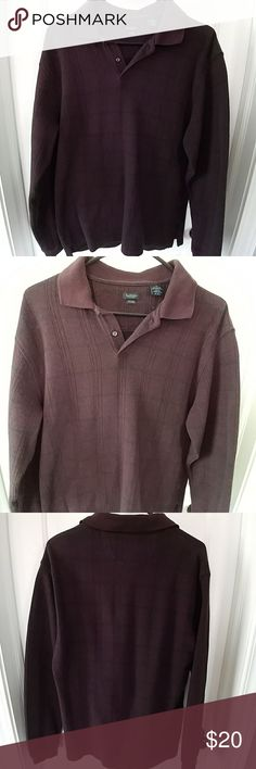 Van Heusen window pane polo Long-sleeved Van Heusen polo shirt.  Deep mulberry color with black window pane for details.  Piling from normal wear Van Heusen Shirts Polos