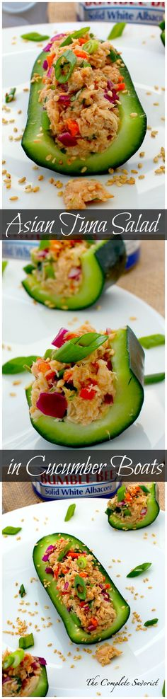 Asian Tuna Salad in Cucumber Boats ~ The Complete Savorist #BeeHealthy #CG