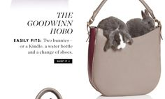 marketing #win of the day - J.Crew using bunnies to sell handbags. cuddly brilliance!