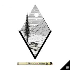 Daily Drawings by Derek Myers Black E White, Triangle Drawing, Black Pen Sketches, Landscape Tattoo, Triangle Tattoos, Art Corner, Ink Illustrations, Pen Art, Body Art Tattoos