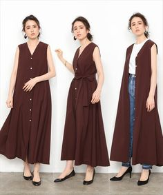 ADAM ET ROPE'(アダム エ ロペ)の「ロングVネックワンピース(ワンピース)」 - WEAR Pakistani Fashion Casual, Modest Fashion, Hijab Fashion, Fashion Art, Fashion Outfits, Fasion, Womens Fashion, Tent Dress, Dress Up
