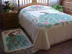 Peacock chenille bedspread and peacock rug 1950's by designer2, $229.00
