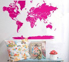 Decoración de pared - Mapa mundi sticker 054C - hecho a mano por lagoa-small-spaces en DaWanda
