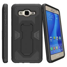Miniturtle® Case for Samsung Galaxy J1 (2016), Amp 2, and Express 3 Case [MAX DEFENSE]-Dual Layer Case, Sleek Exterior Built in Kickstand + Holster - Black