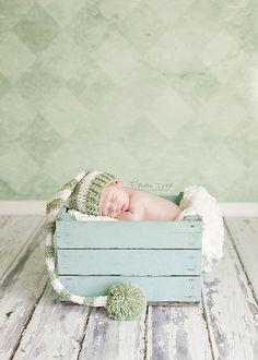 Newborn Green & White Striped Elf Stocking Hat Newborn Photography Prop