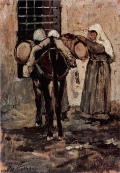 Nonne mit Esel - Giovanni Fattori