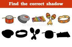 Find the correct shadow (musical instruments) stock illustration Memory Games, Music Education, Cello, Kids Cards, Games For Kids, Musical Instruments, Kindergarten, Preschool, Memories