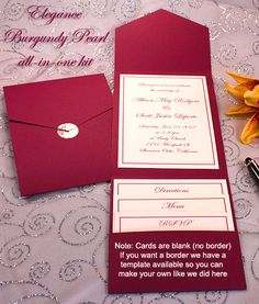 Print your own burgundy wedding invitations, Burgundy pocket wedding invitations, Burgundy printable invitation kits, Burgundy DIY wedding invitations