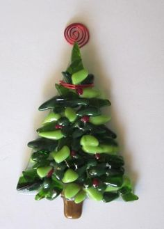 Christmas Tree Fused Glass Ornament
