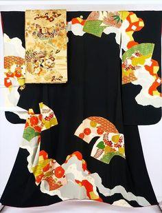 【着物フィ】1円 アンティーク 振袖 袋帯 2点セット 正絹 古典紋様 黒色 一ツ紋 成人式 結婚式 2872_画像1