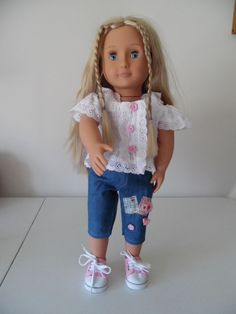 *Spring Top/Pants* -Fit 18 inch American Girl Doll Clothes Girls Pjs, Our Generation Dolls, Spring Tops, Girl Doll Clothes, Workout Pants, American Girl, Flower Girl Dresses, Wedding Dresses, Fitness