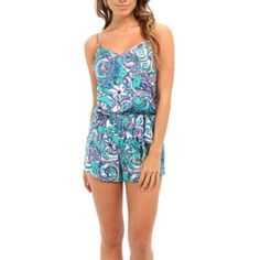 Lilly Pulitzer Sea Foam Montauk Deanna Romper Excellent used condition. No trades. Feel free to ask any questions :) Lilly Pulitzer Pants Jumpsuits & Rompers